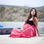 Göl kenarında hamile fotoğrafı
