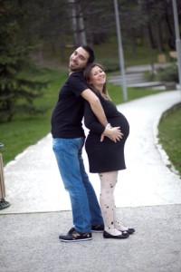 Yan profil hamile fotoğrafı