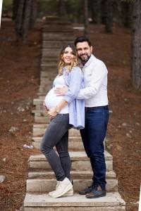 Merdivenlerde hamile çekimi