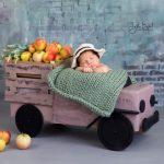 Elma kamyonunda bebek fotoğrafı